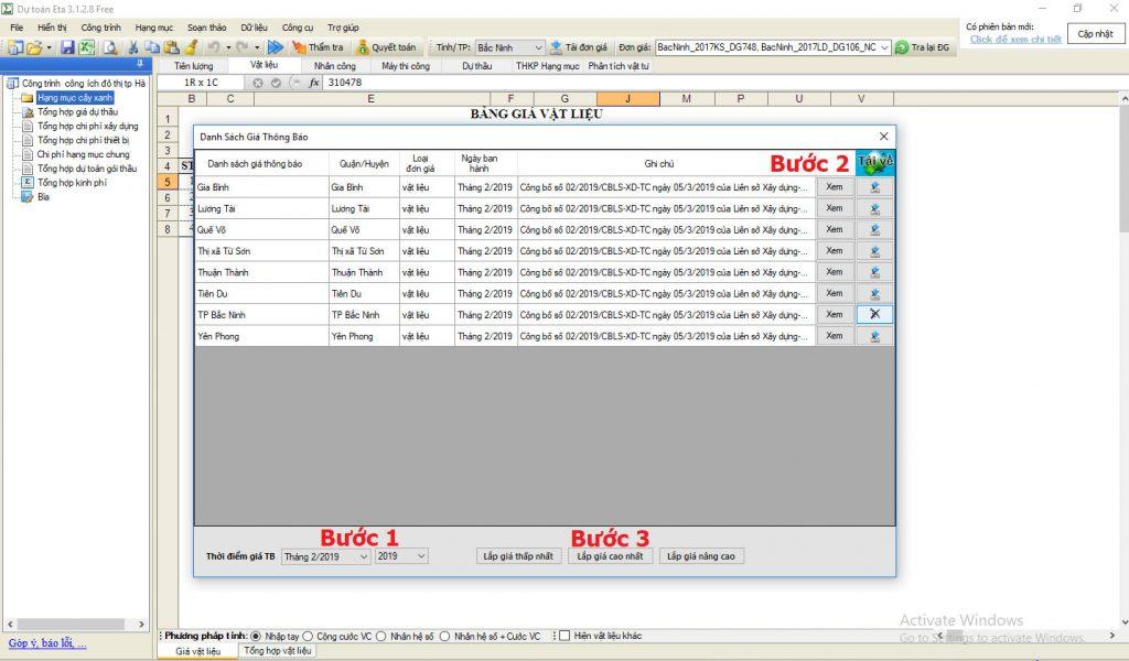 Hướng dẫn áp giá thông báo vật liệu trên dự toán Eta