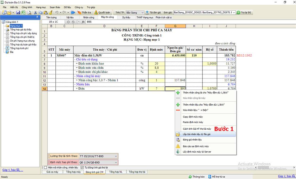Cập nhật giá nhiên liệu trên dự toán Eta