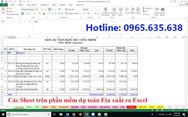 File dự toán Eta trên Excel