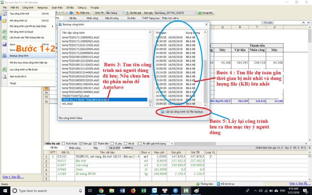 lỗi file dự toán eta bị mất dữ liệu