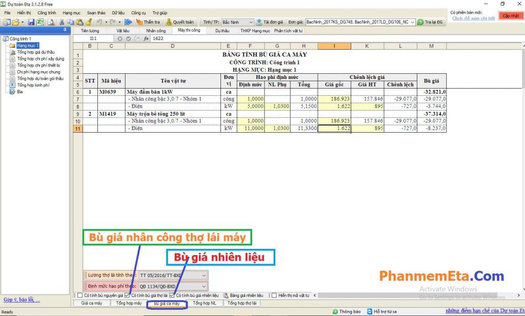 Tính giá ca máy trên Dự toán Eta