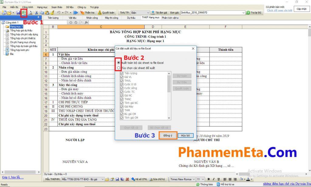 Xuất file dự toán Eta ra Excel