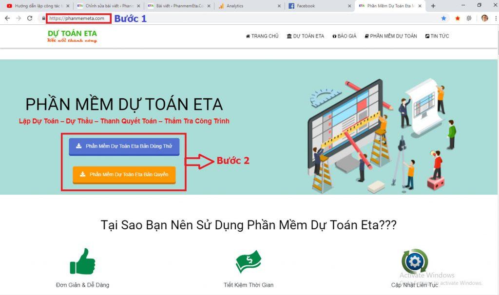 download phần mềm dự toán Eta