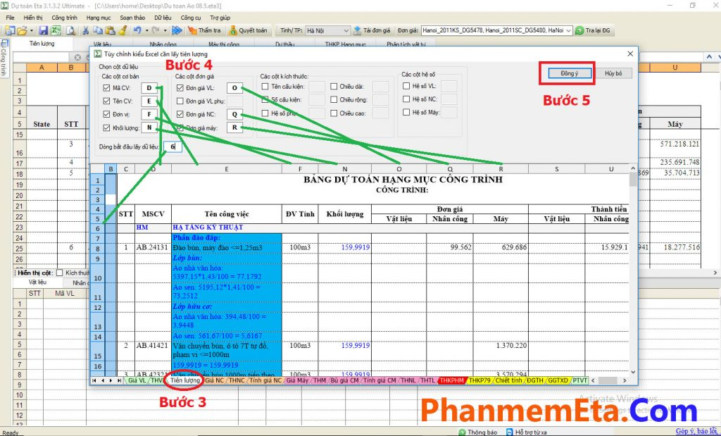 lấy Excel vào phần mềm dự toán Eta