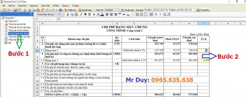 Hướng dẫn điều chỉnh chi phí hạng mục