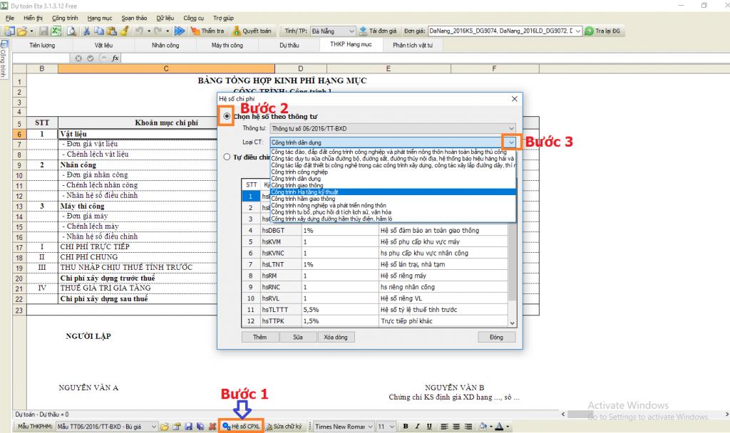 Phân loại công trình trong phần mềm dự toán eta
