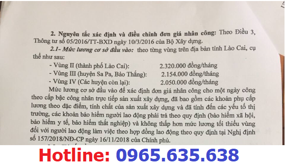 hướng dẫn lập dự toán tỉnh Lào Cai