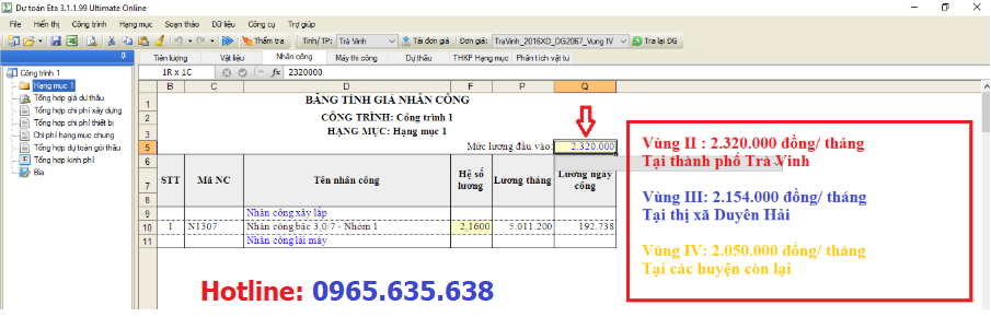 Hướng dẫn lập dự toán tỉnh Trà Vinh