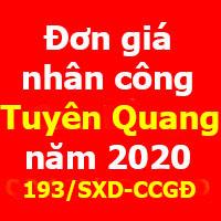 Đơn giá nhân công tỉnh Tuyên Quang năm 2020
