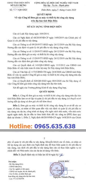 Bảng giá ca máy tỉnh Điện Biên năm 2020