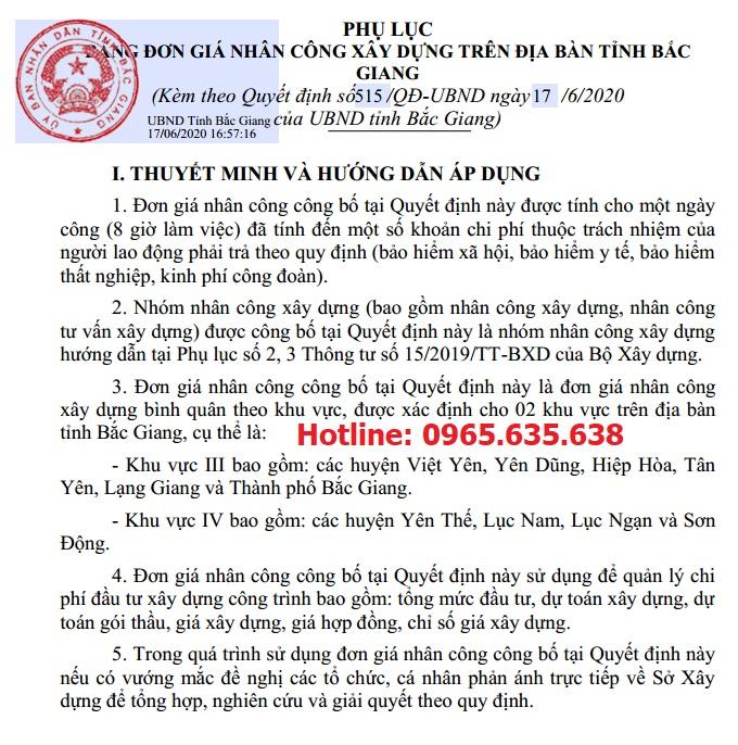 Quyết định 515/QĐ-UBND Đơn giá nhân công Bắc Giang năm 2020
