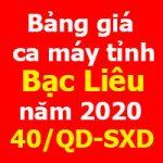 bảng giá ca máy và thiết bị Bạc Liêu năm 2020