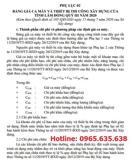 Bảng giá ca máy tỉnh Lâm Đồng năm 2020