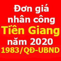 ơn giá nhân công tỉnh Tiền Giang năm 2020 - Quyết định 1983/QĐ-UBND