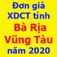 Đơn giá xây dựng tỉnh Bà Rịa Vũng Tàu năm 2020