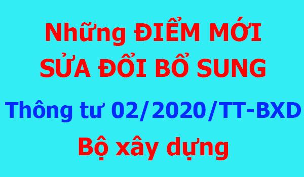 Một số điểm mới Thông tư 02/2020/TT-BXD