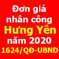 Quyết định 1624/QĐ-UBND Đơn giá nhân công tỉnh Hưng Yên