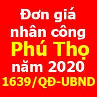 Quyết định 1639/QĐ-UBND đơn giá nhân công xây dựng tỉnh Phú Thọ