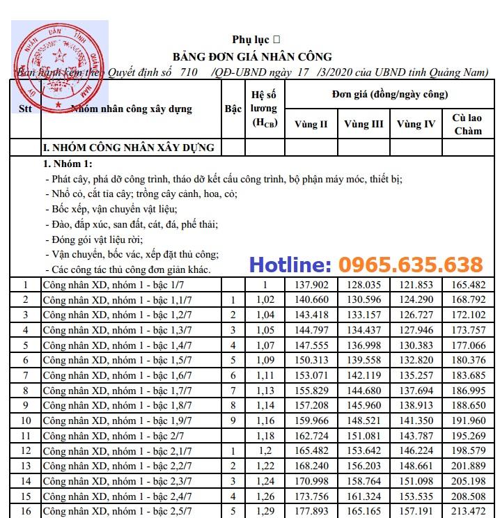 Bảng giá ca máy tỉnh Quảng Nam năm 2020
