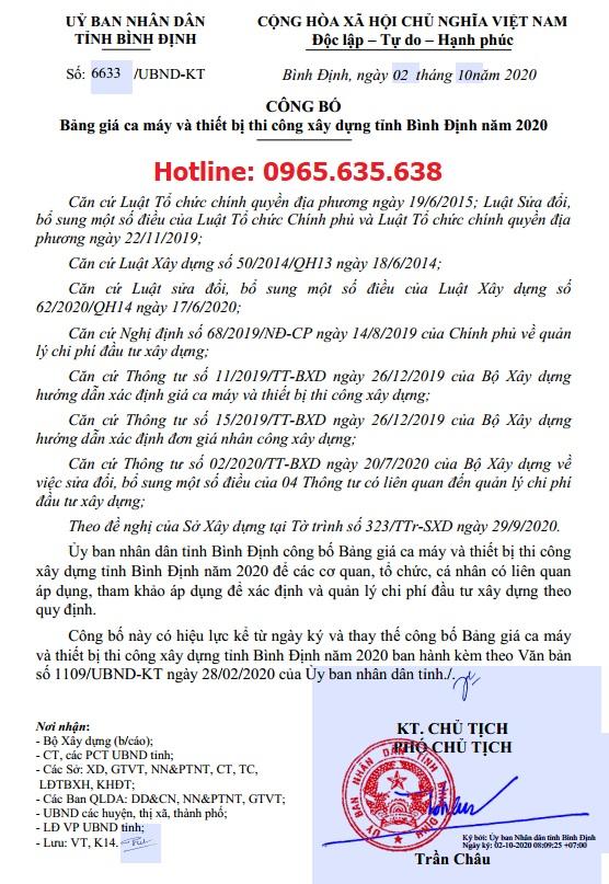 Bảng giá ca máy tỉnh Bình Định 2020