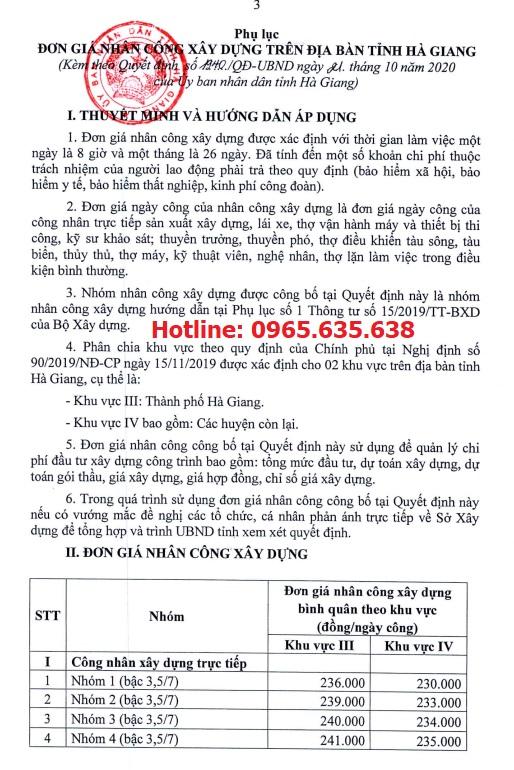 Quyết định 1940/QĐ-UBND Đơn giá nhân công xây dựng tỉnh Hà Giang năm 2020