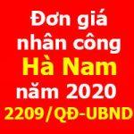 Quyết định 2209/QĐ-UBND Đơn giá nhân công xây dựng tỉnh Hà Nam năm 2020