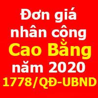 Đơn giá nhân công tỉnh Cao Bằng 2020