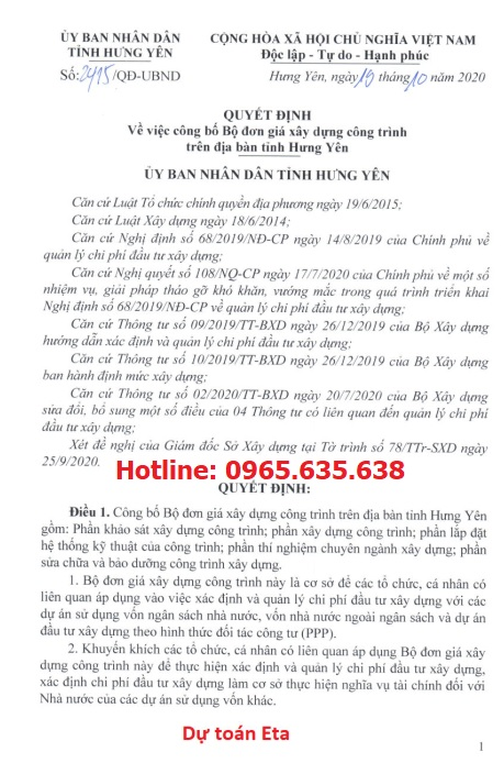 Quyết định 2415/QĐ-UBND Đơn giá XDCT tỉnh Hưng Yên năm 2020