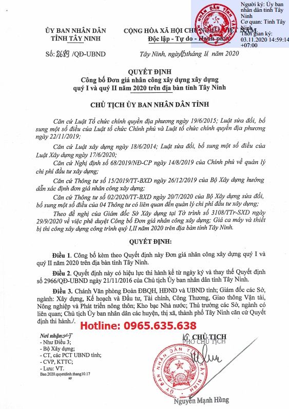 Đơn giá nhân công tỉnh Tây Ninh năm 2020