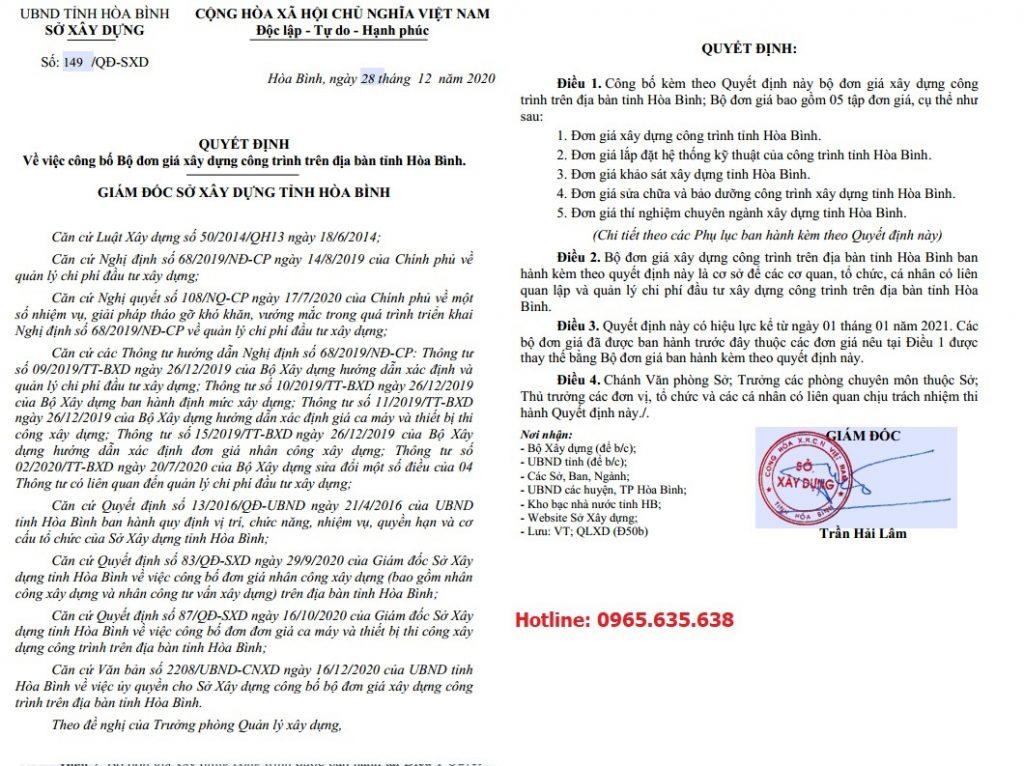 Đơn giá xây dựng tỉnh Hòa Bình Quyết định 149/QĐ-SXD