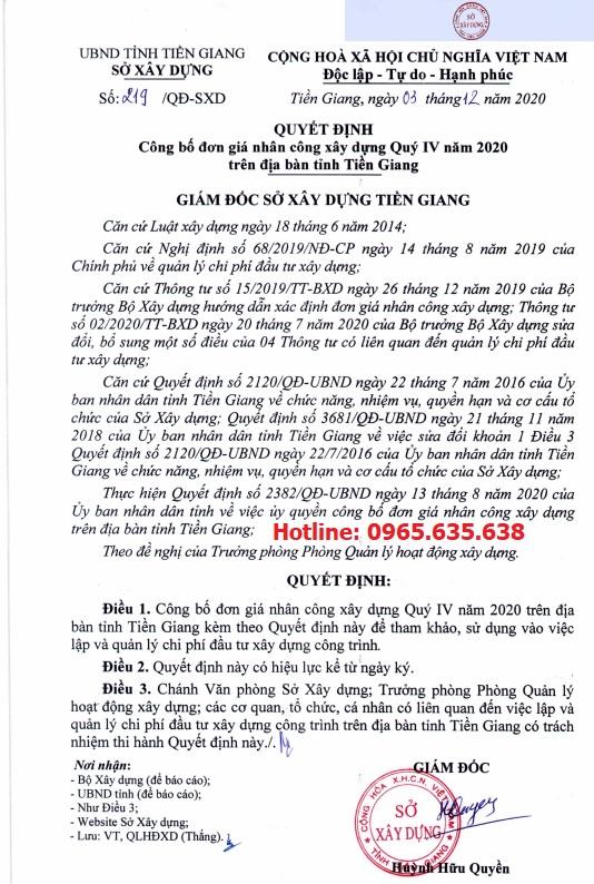 Quyết định 219/QĐ-SXD Đơn giá nhân công Tiền Giang
