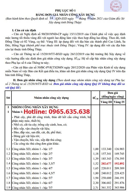 Đơn giá nhân công tỉnh Đồng Tháp năm 2021