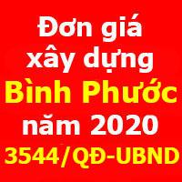Quyết định 3544/QĐ-SXD Đơn giá Xây dựng công trình tỉnh Bình Phước năm 2021