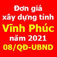 Đơn giá xây dựng tỉnh Vĩnh Phúc Quyết định 08/QĐ-UBND