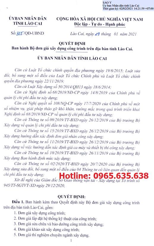 Đơn giá xây dựng tỉnh Lào Cai năm 2021