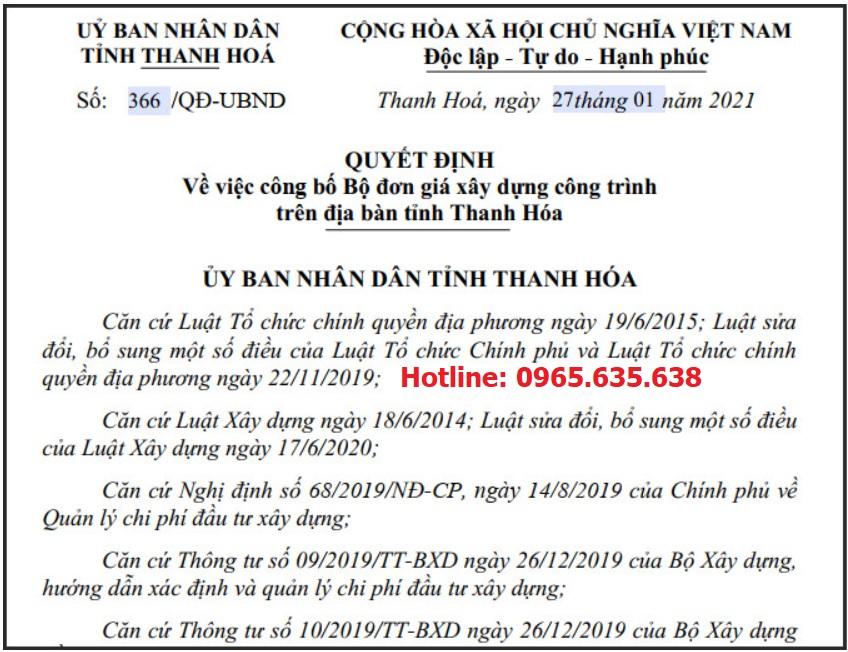 Đơn giá xây dựng tỉnh Thanh Hóa Quyết định 336/QĐ-UBND