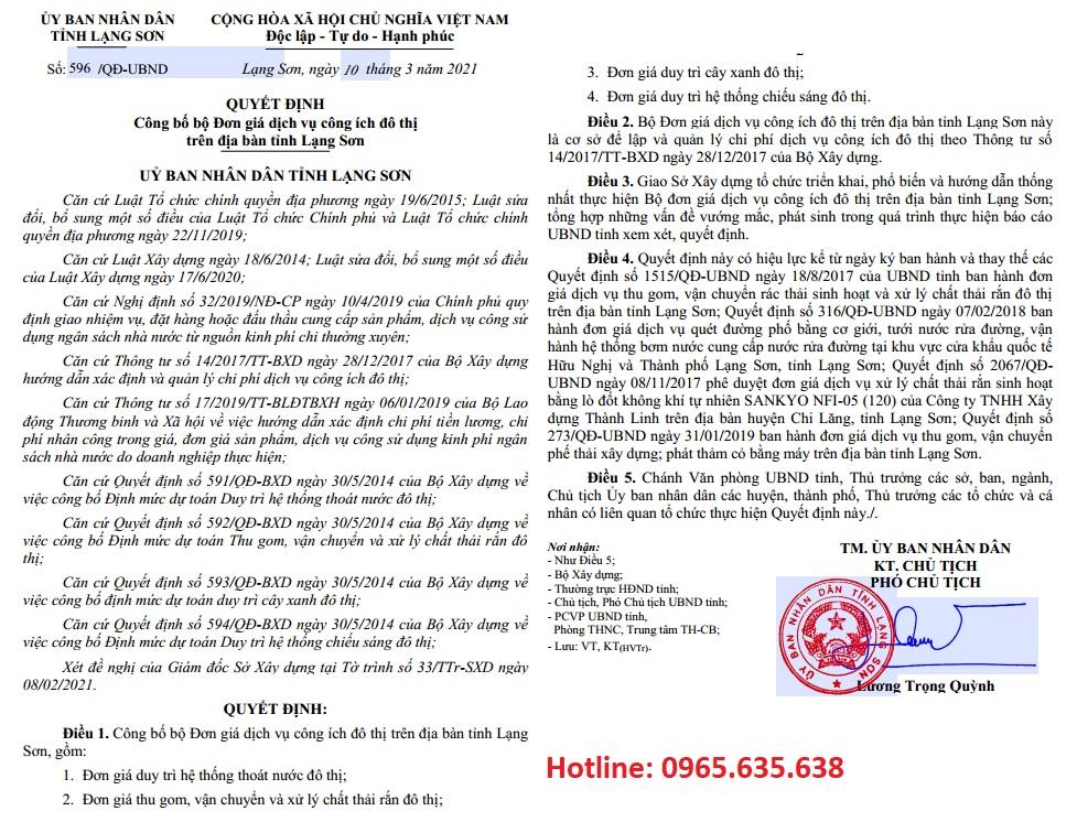 Đơn giá công ích đô thị Lạng Sơn năm 2021