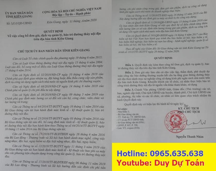 Đơn giá đường thủy nội địa tỉnh Kiên Giang 2021