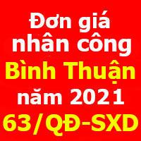 Đơn giá nhân công tỉnh Bình Thuận năm 2021 Quyết định 63/QĐ-SXD