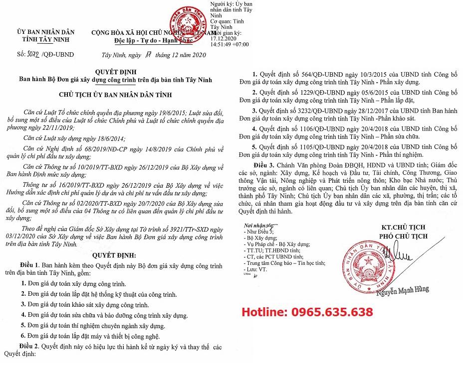 Đơn giá khảo sát tỉnh Tây Ninh năm 2021