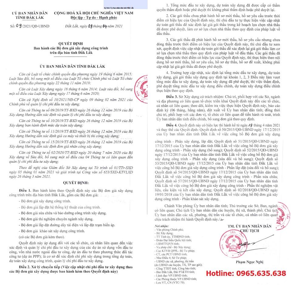Đơn giá xây dựng Đắk Lắk quyết định 09
