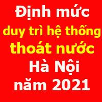 Định mức thoát nước đô thị Hà Nội năm 2021