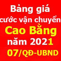 Tính cước vận chuyển tỉnh Cao Bằng Quyết định 07/2021/QĐ-UBND