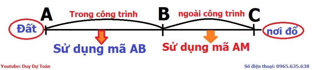 Vận chuyển đất đổ đi sử dụng mã AB hay AM
