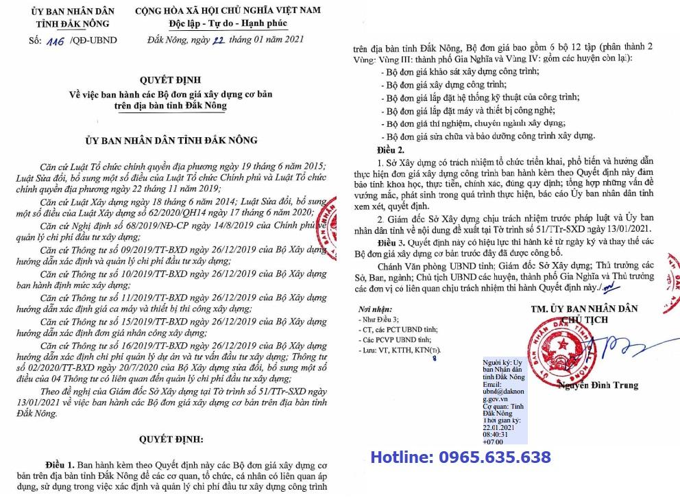 Đơn giá khảo sát tỉnh Đắk Nông Quyết định 116/QĐ-UBND