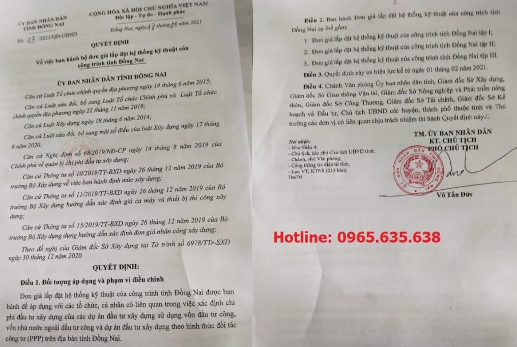 Đơn giá khảo sát tỉnh Đồng Nai Quyết định 03/QĐ-UBND