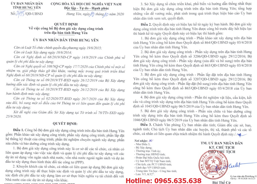 Đơn giá khảo sát tỉnh Hưng Yên Quyết định 2415/QĐ-UBND
