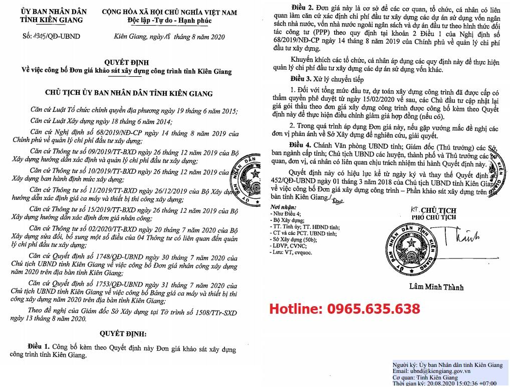 Đơn giá khảo sát tỉnh Kiên Giang Quyết định 1945/QĐ-UBND