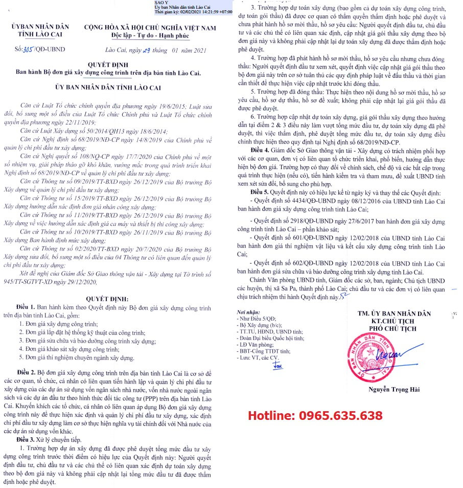 Đơn giá khảo sát tỉnh Lào Cai năm 2021
