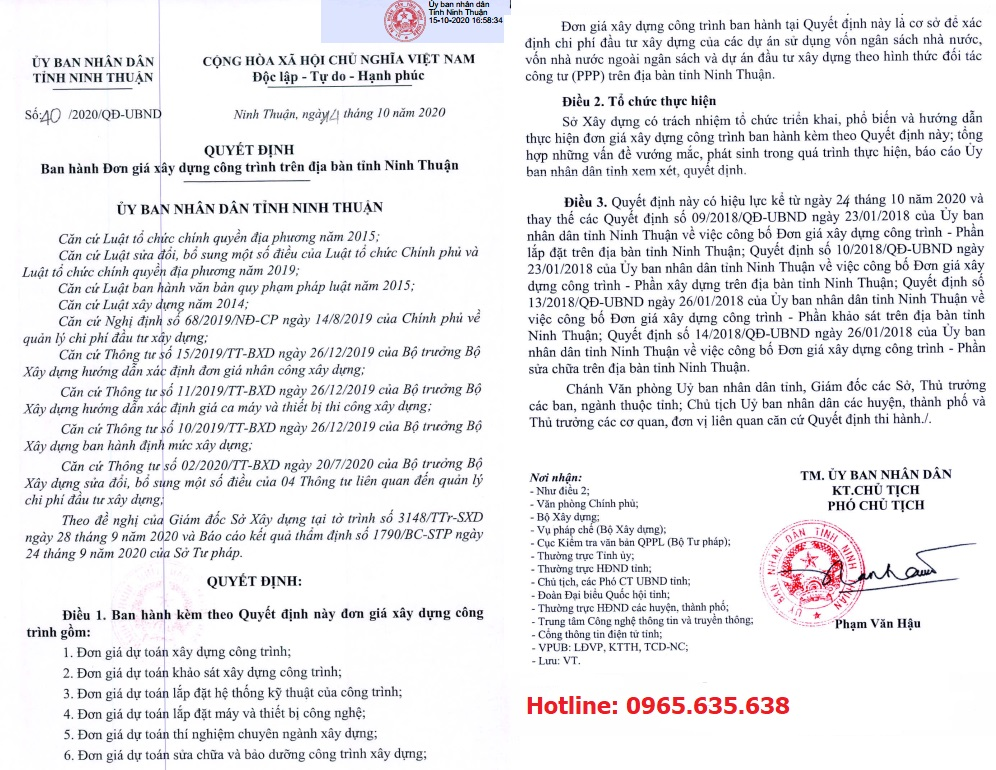 Đơn giá khảo sát tỉnh Ninh Thuận Quyết định 40/QĐ-UBND